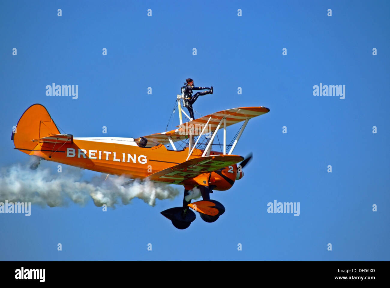 Breitling wing walkers Aerobatics Display Team with clear blue sky at piston and props show sywell Aerodrome Northamptonshire - Stock Image