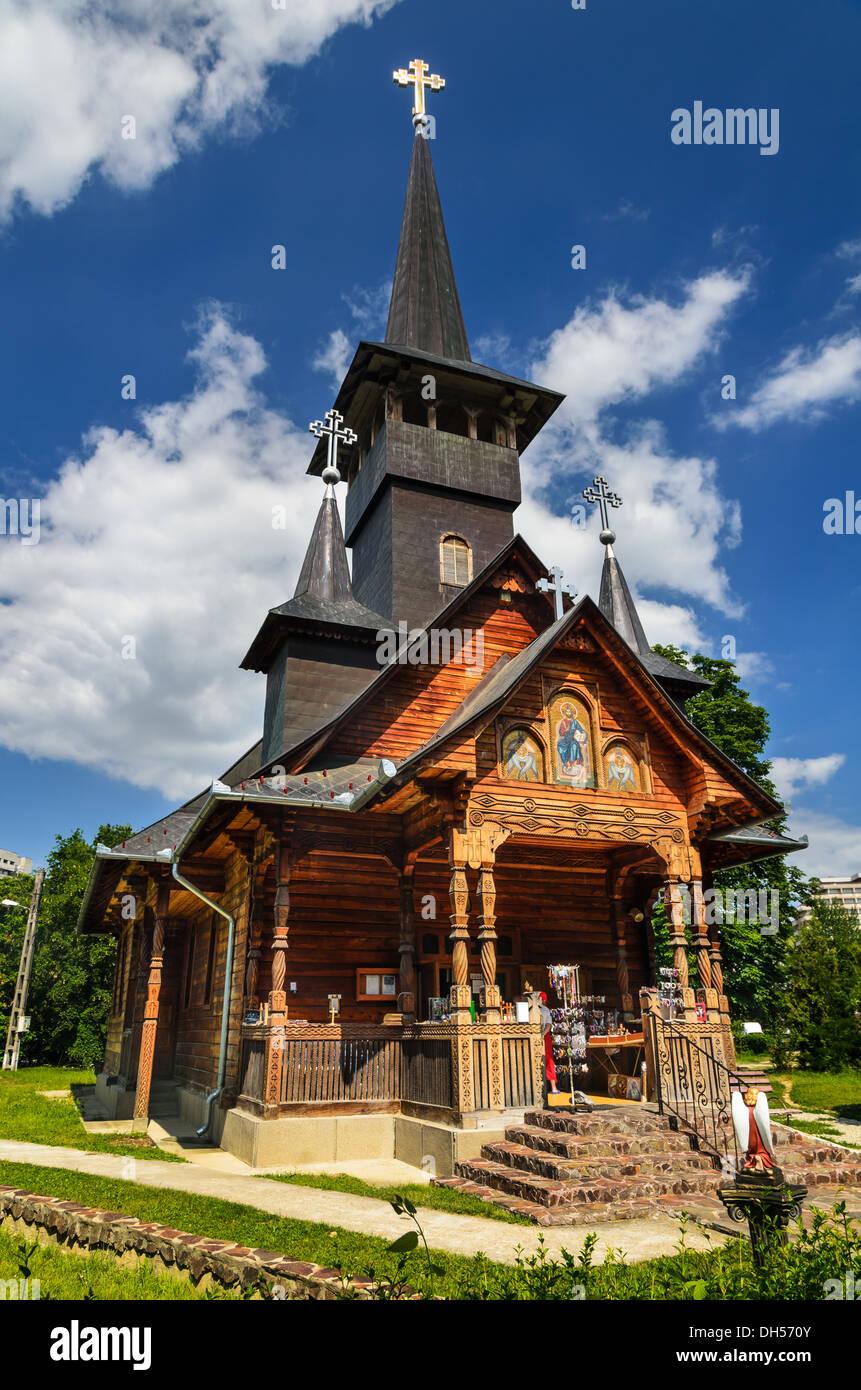 Orthodox wooden architecture church in the resort of Baile Felix, Transylvania, Romania - Stock Image