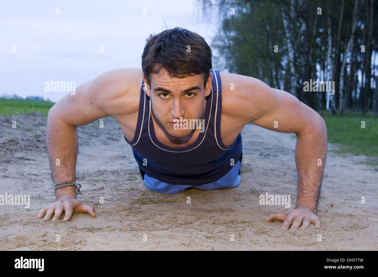 man into a sweat - Stock Image