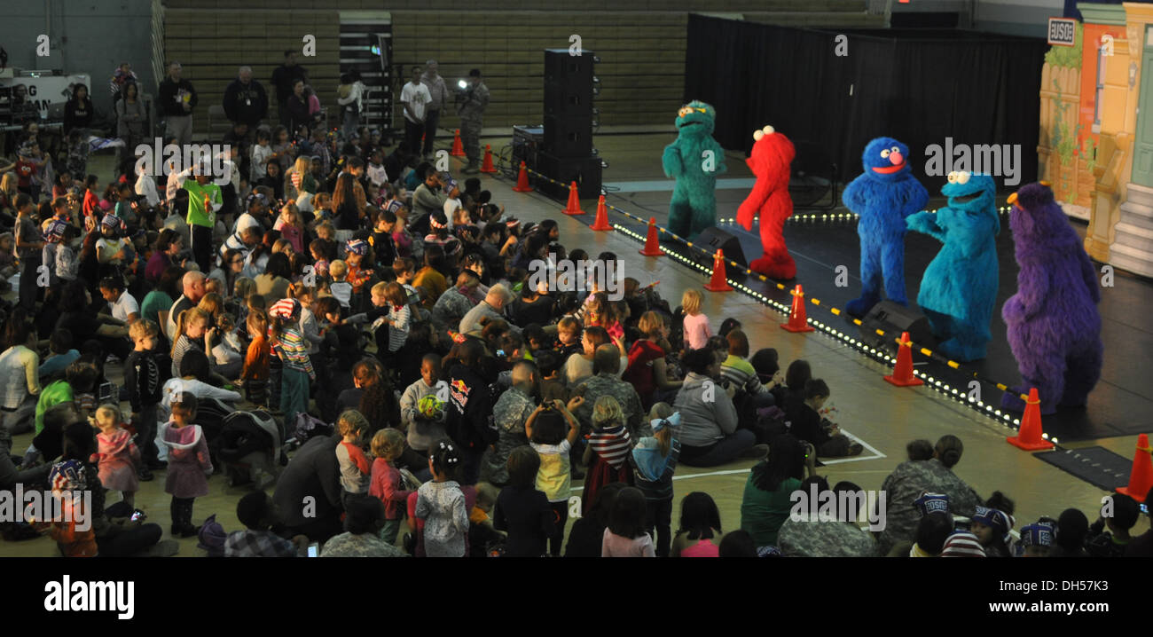 9284: Characters from Sesame Street show perform in front of 400 children who visited Collier Fitness Center to watch a live show. Sesame Street show took place from 16:00 to 16:40, Oct. 24. - Stock Image