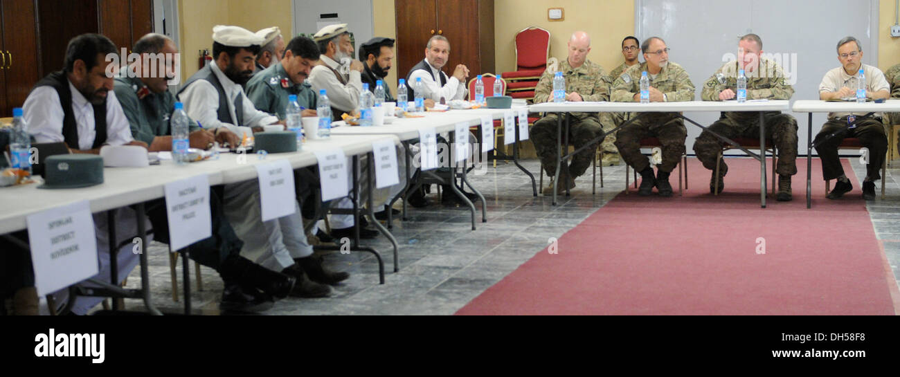 The leaders of 2nd Battalion, 4th Infantry Regiment, along with a representative from the U.S. State Department and members of the U.S. Agency for International Development, met with leaders from eastern Nangarhar province at Forward Operating Base Fenty - Stock Image