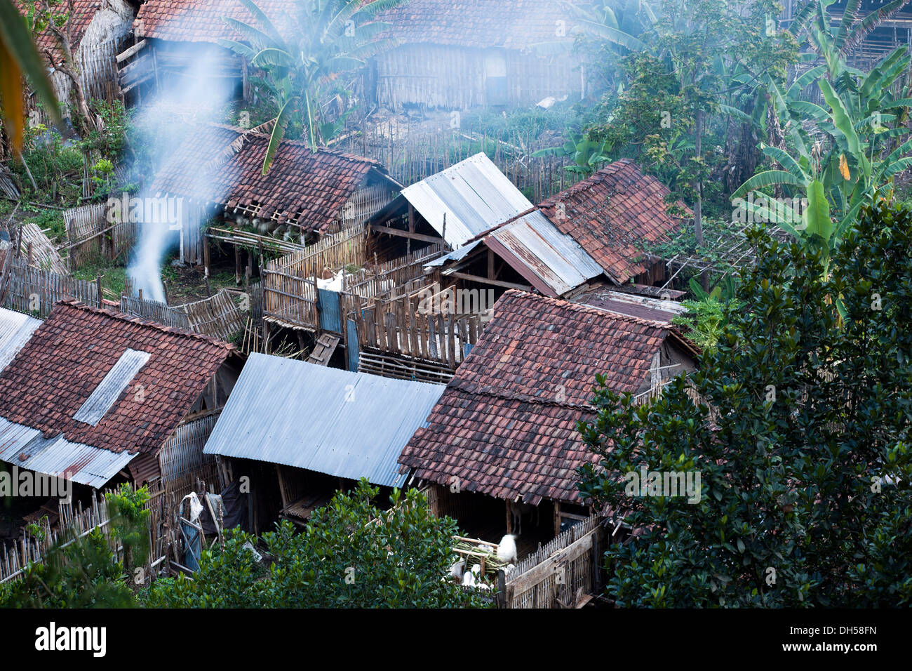 Indonesian village from above, Java, Indonesia - Stock Image