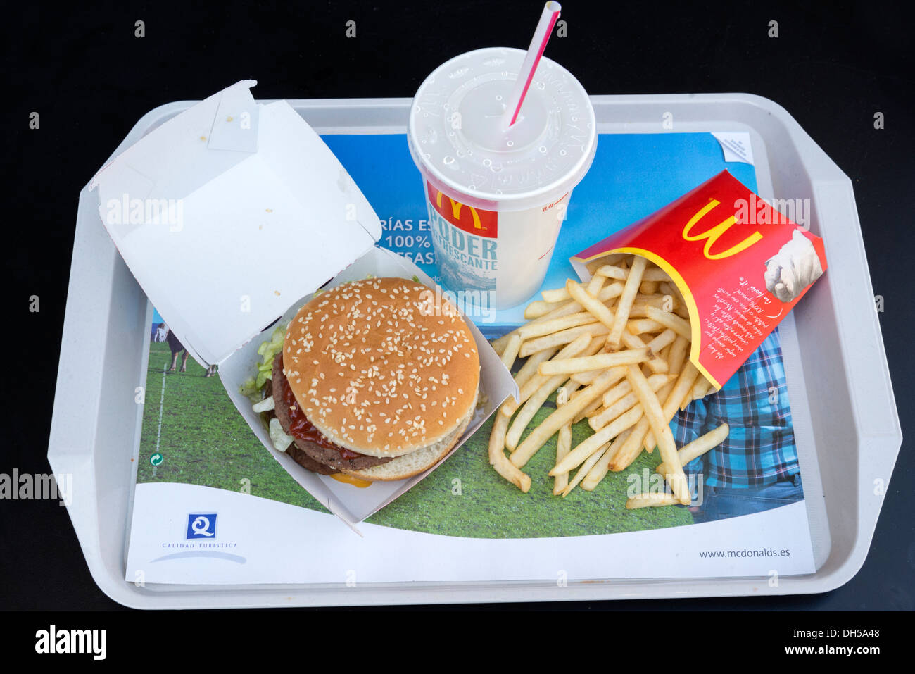 McDonald's meal of Big Mac, french fries and a soft drink - Stock Image