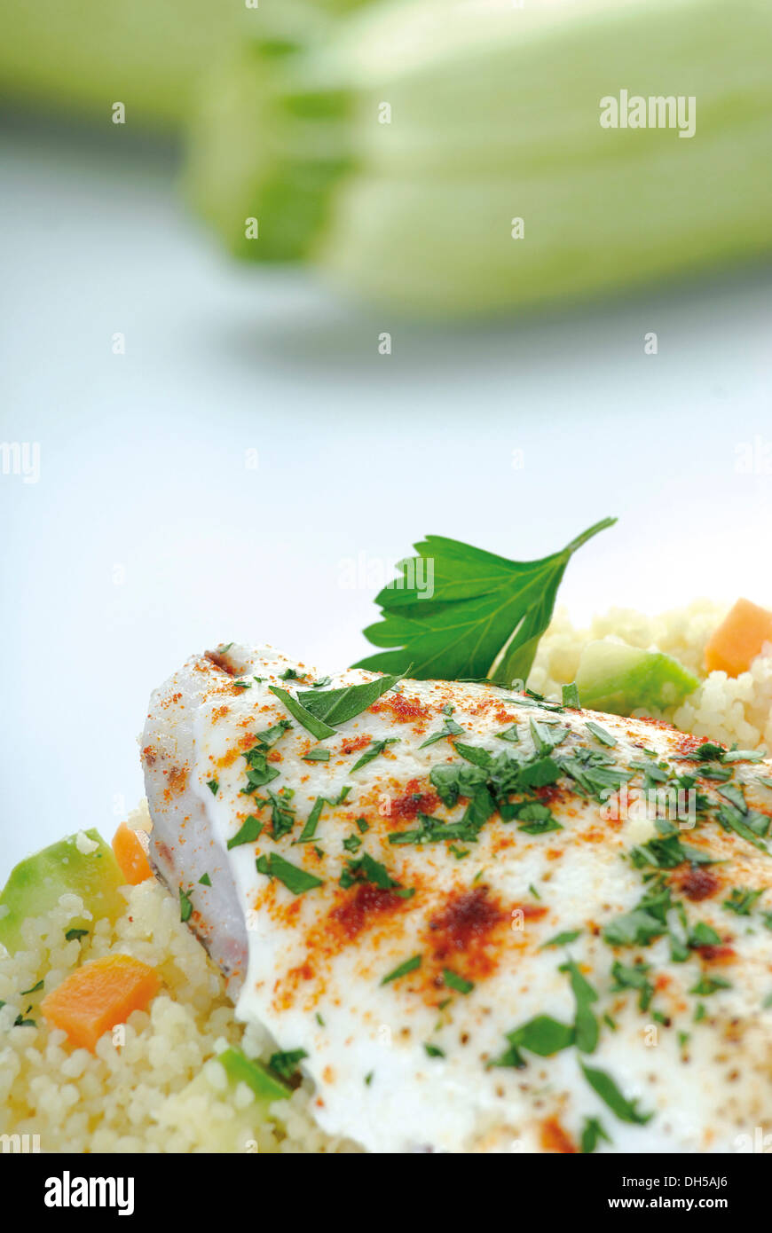 Fish fillets with couscous Stock Photo