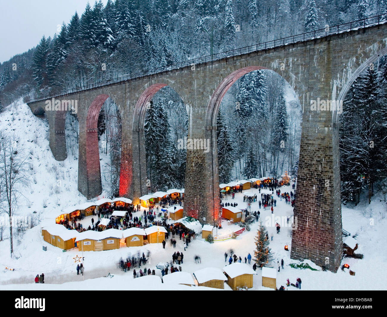 Christmas market, Ravenna Bridge, Ravenna Gorge, Ravenna gorge, Schwarzwald, Black Forest, Baden-Württemberg, Germany Stock Photo