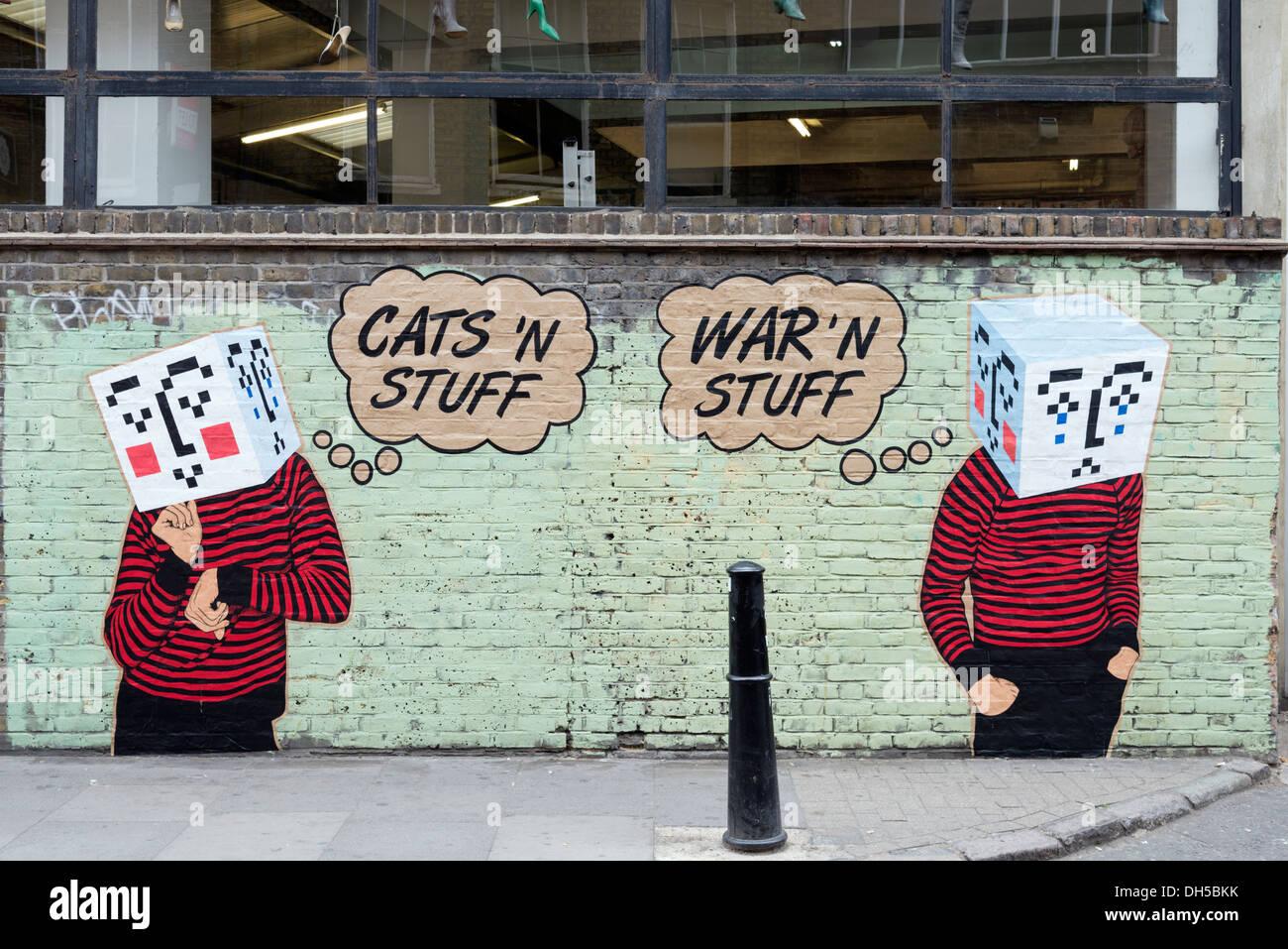 Graffiti street art in Hanbury Street, Spitalfields, East End, London, England, UK - Stock Image