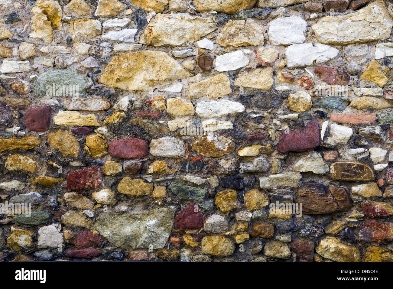 colorful natural stone wall Stock Photo