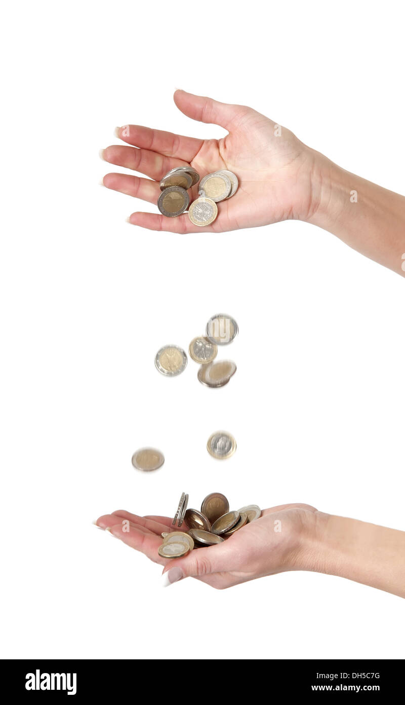 falling coins - Stock Image