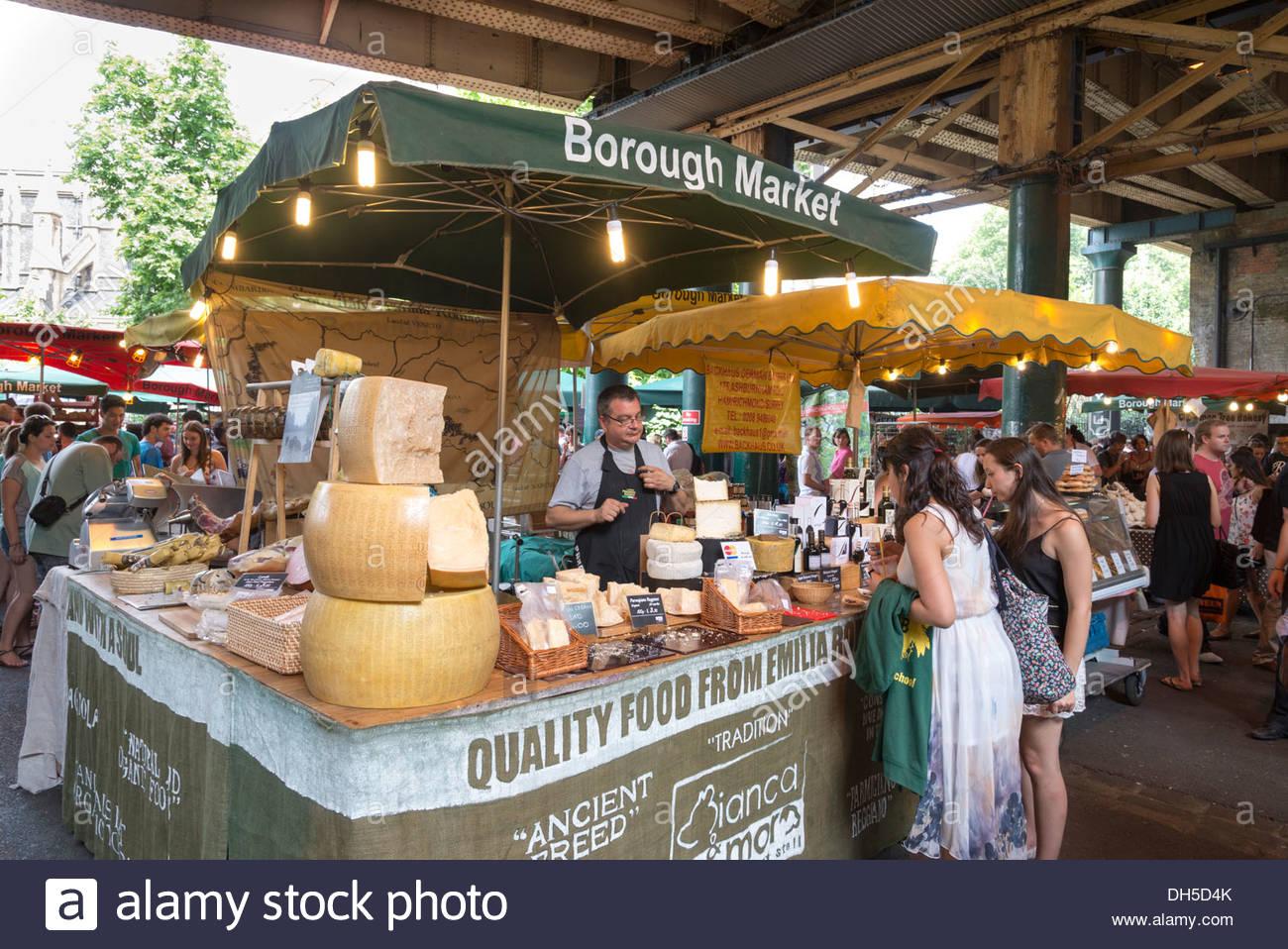 Borough Market cheese stall, London, England, UK - Stock Image