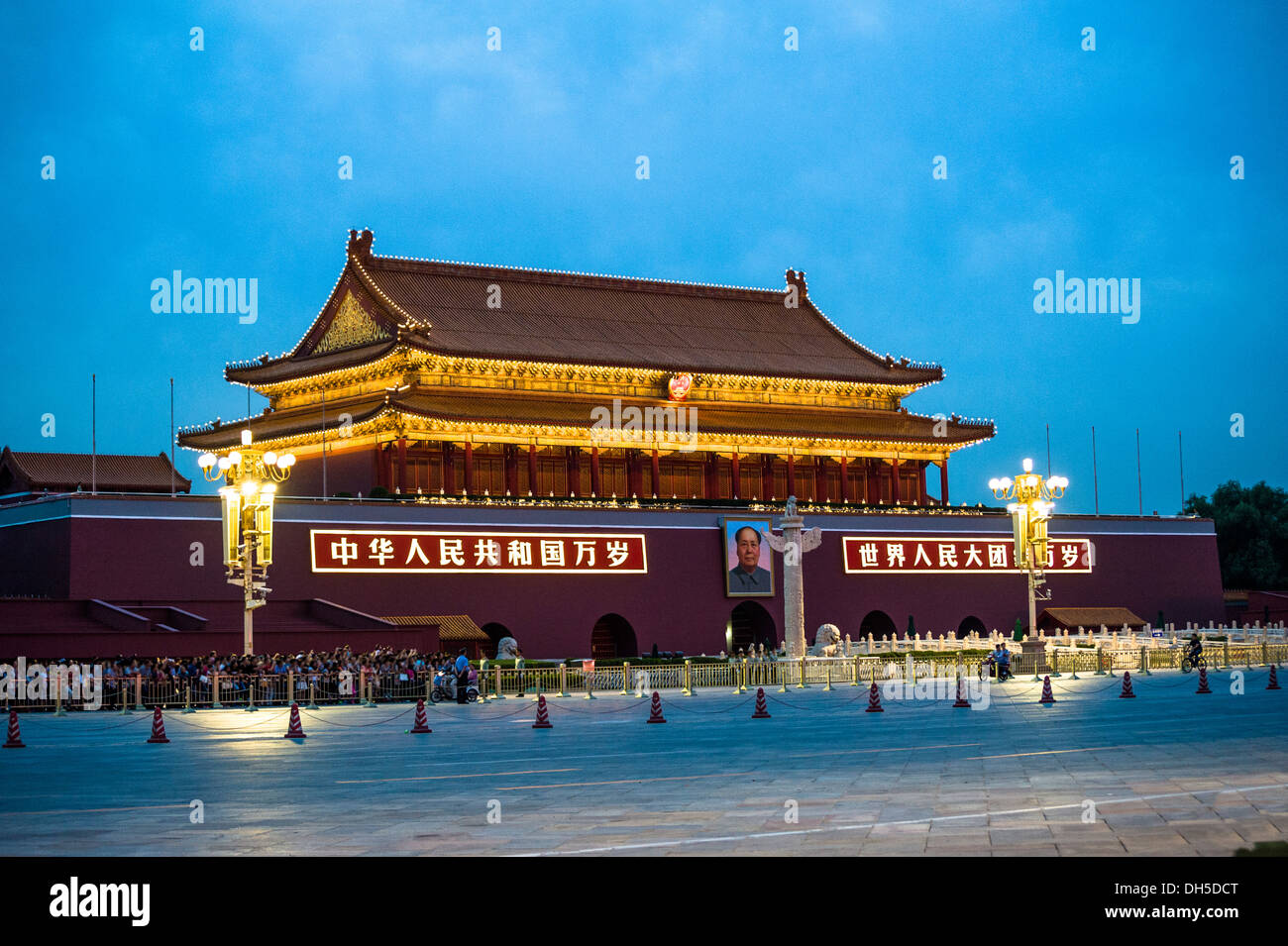 Tiananmen tower  at dusk - Stock Image