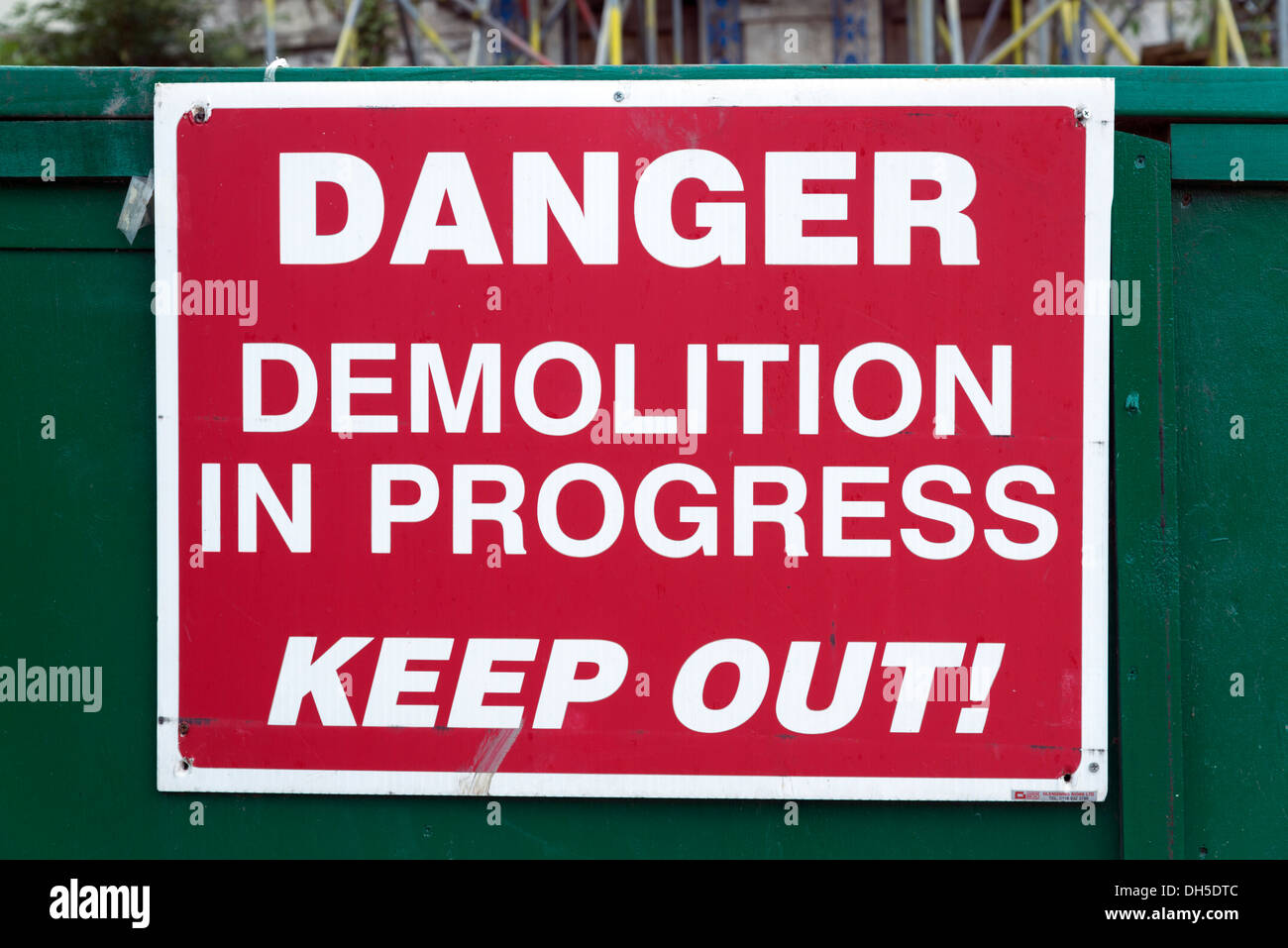 Danger, Demolition in Progress, Keep Out sign, England, UK - Stock Image