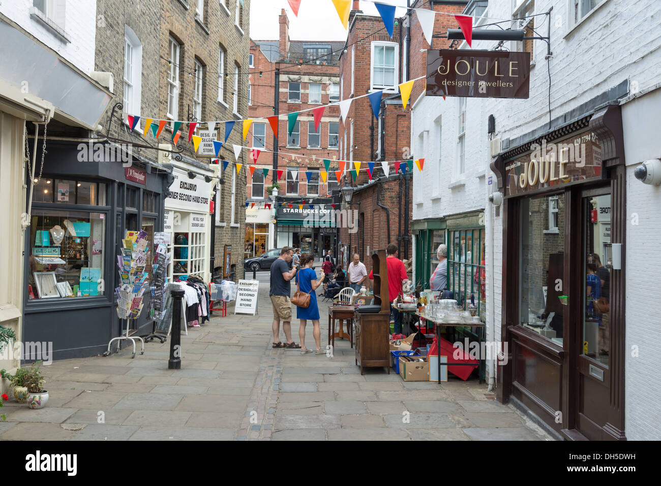Small shops and boutiques on Flask Walk, Hampstead, London, England, UK - Stock Image