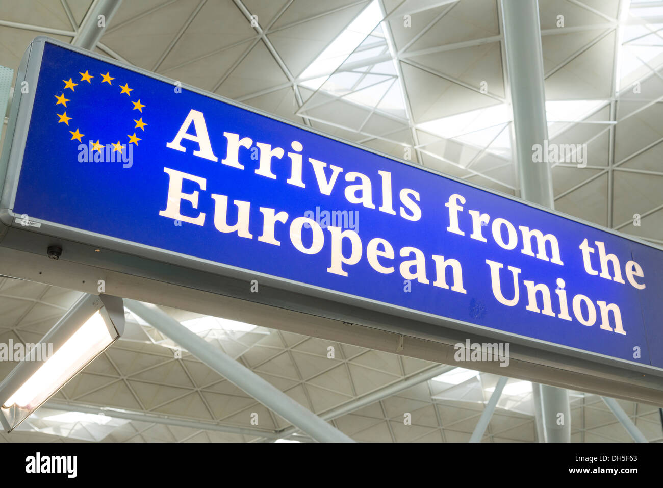 Arrivals from the European Union sign at the exit to Stansted Airport, England, UK - Stock Image