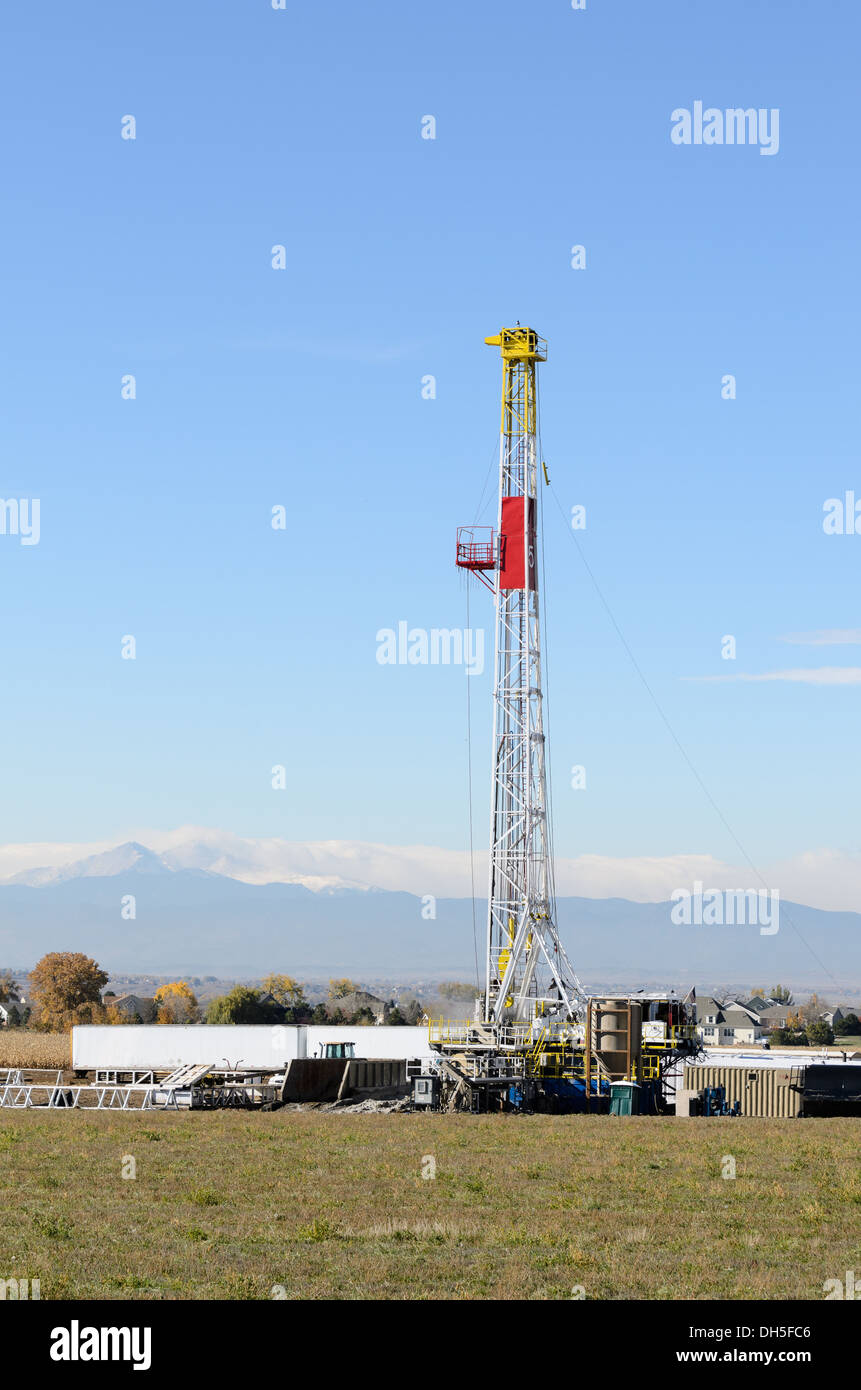 fracking drill in use on the Colorado front range, USA - Stock Image