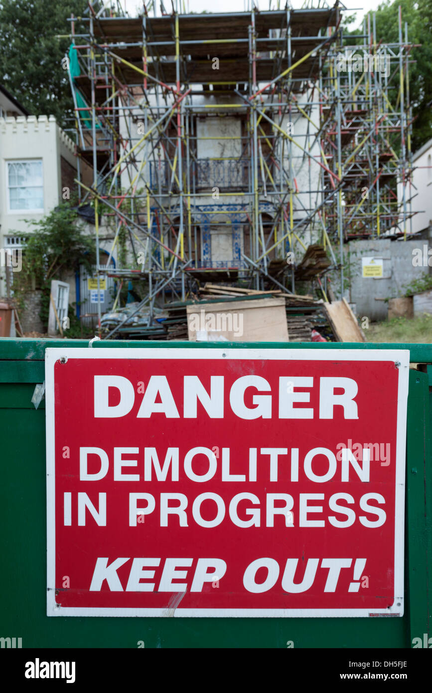 Danger, Demolition in Progress, Keep Out sign, London, England, UK - Stock Image