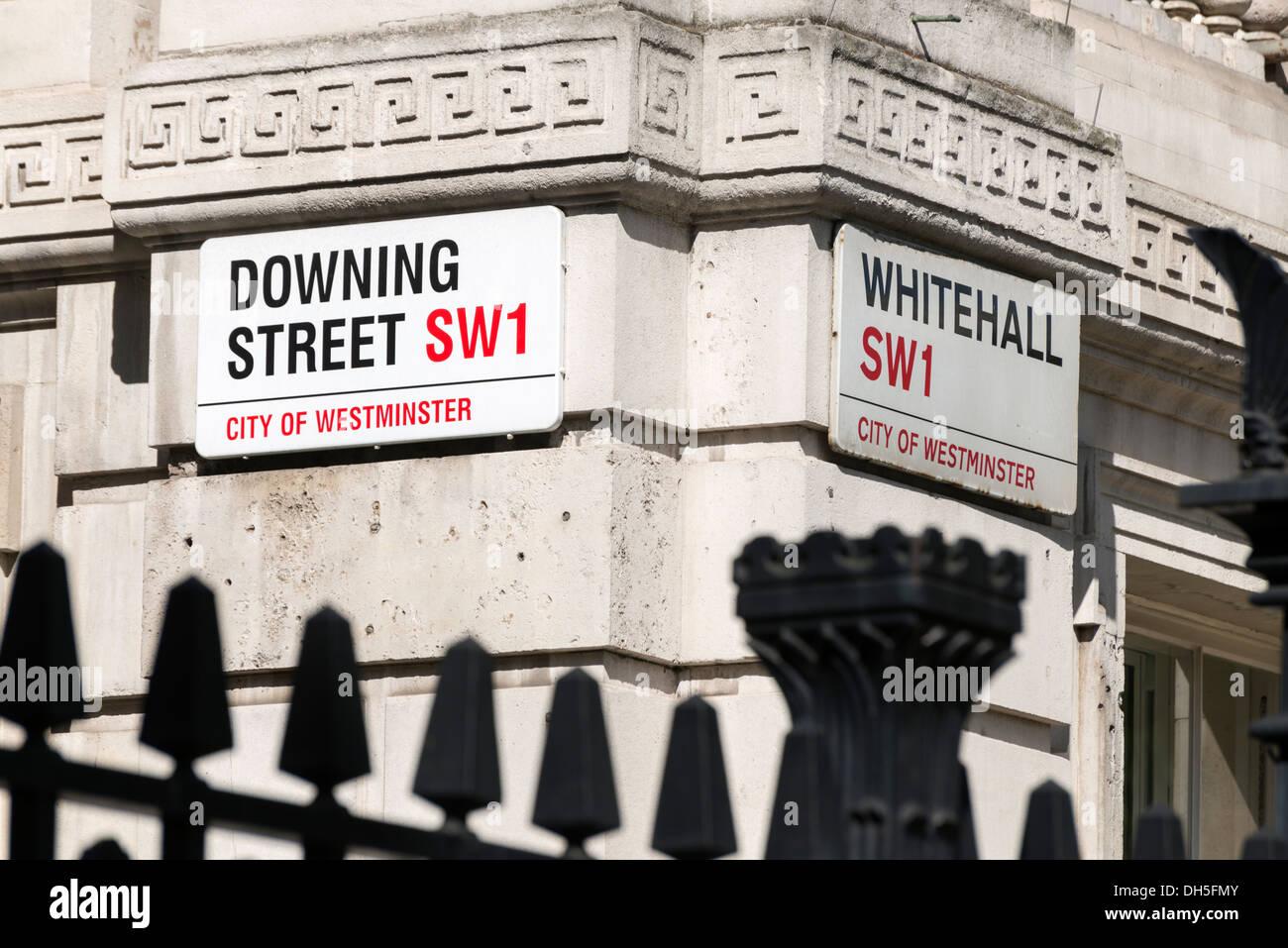 Corner of Downing Street and Whitehall, London, England, UK - Stock Image