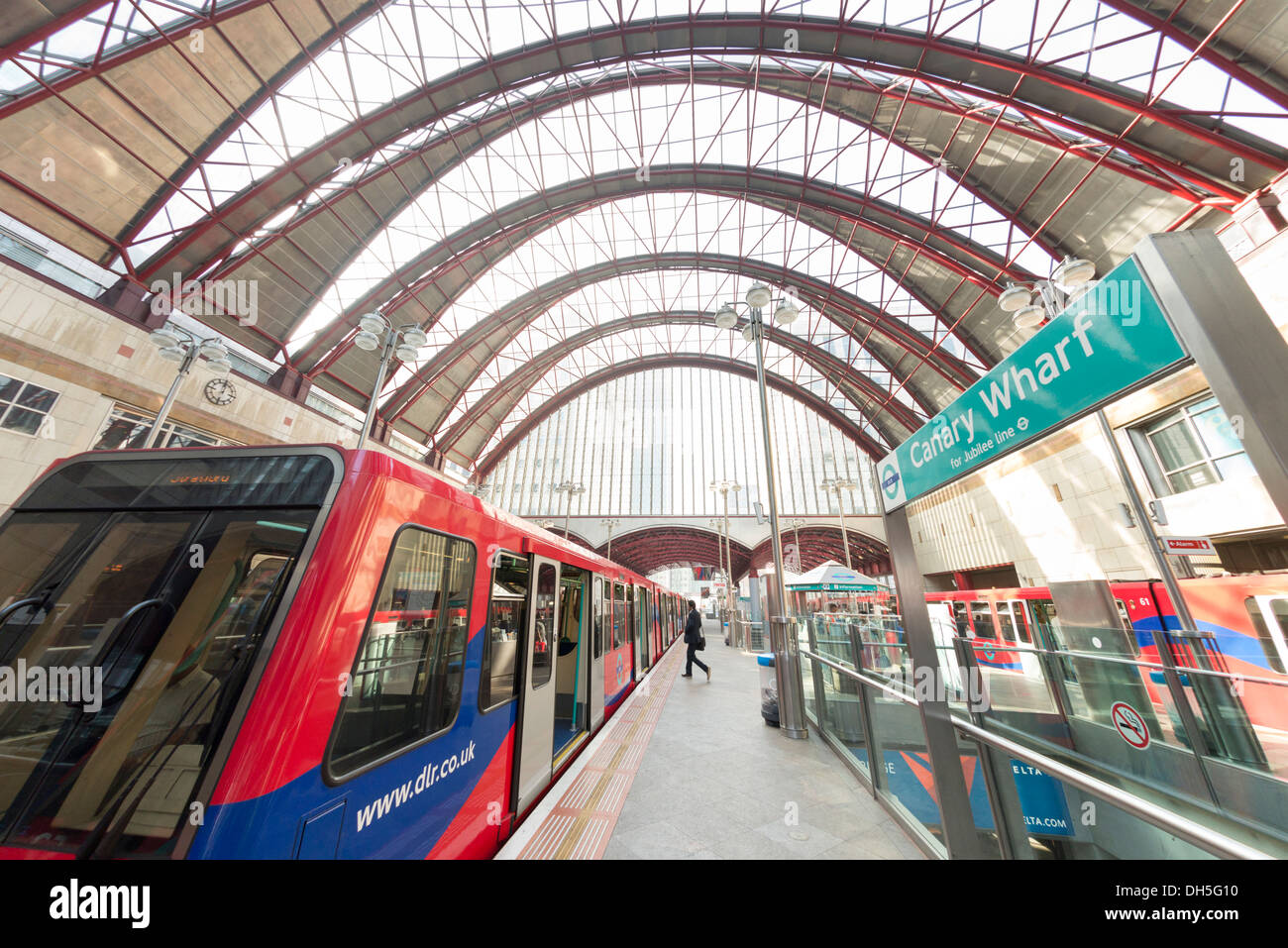 Docklands Light Railway station at Canary Wharf, London, England, UK - Stock Image