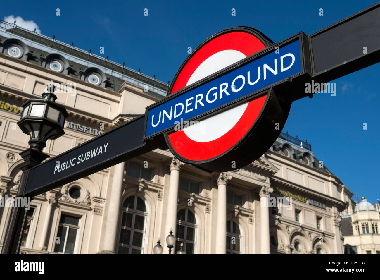 London Underground sign at Piccadilly Circus, England, UK - Stock Image