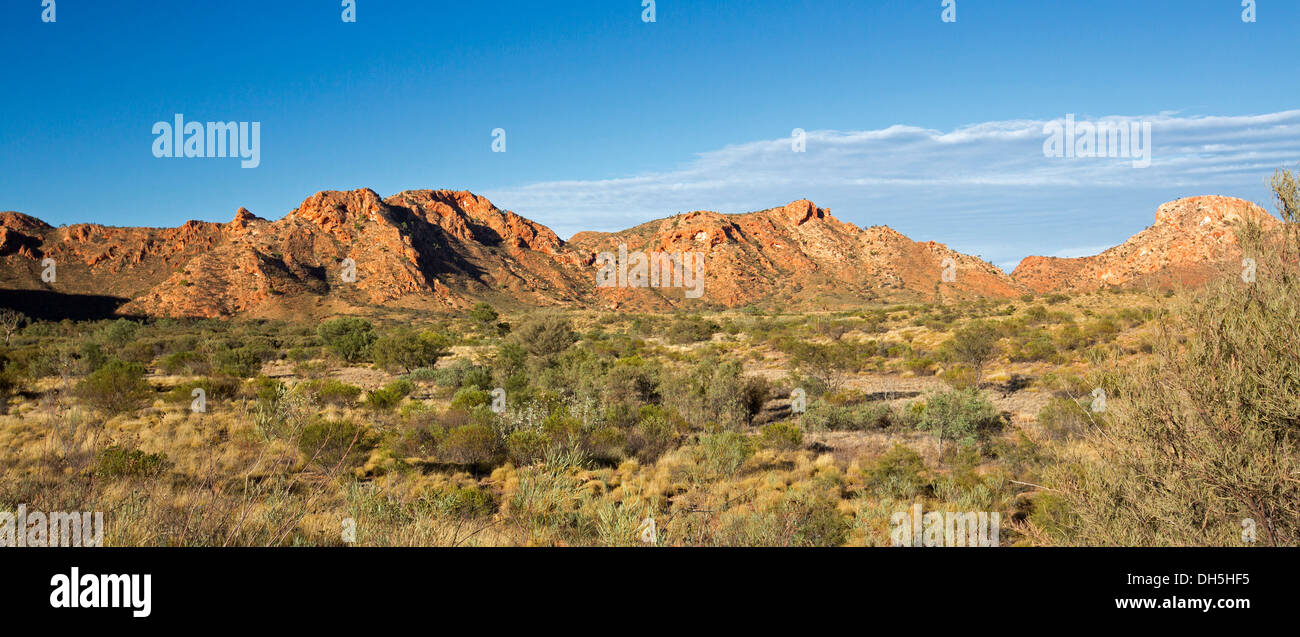 Panoramic Australian outback landscape of Gosse Bluff - remains of meteorite crater, West MacDonnell Ranges Northern Territory - Stock Image
