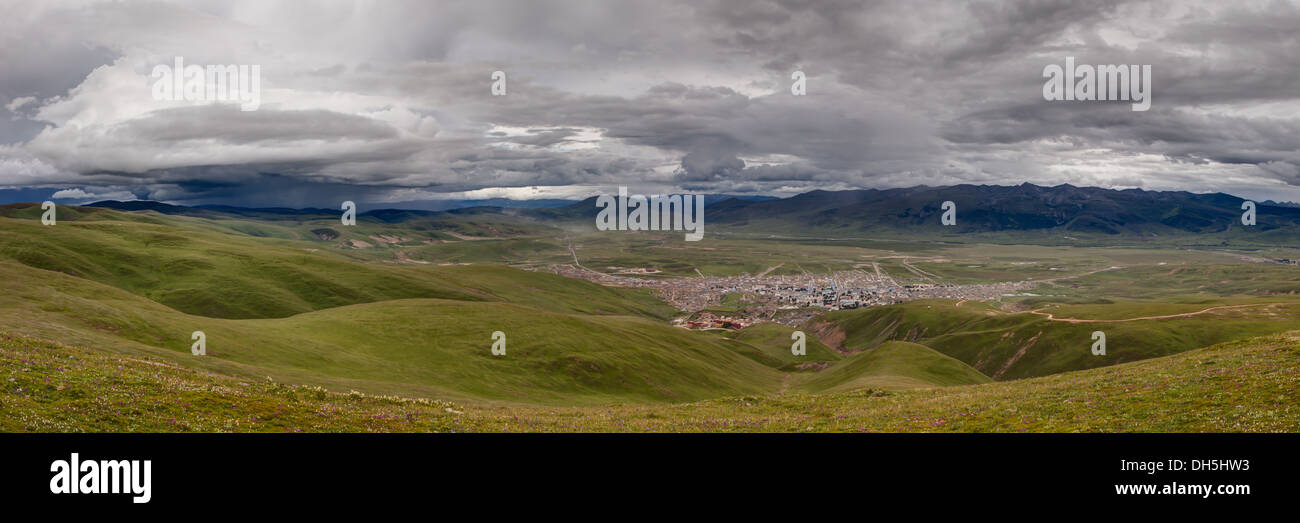 A panoramic image of Litang - Stock Image