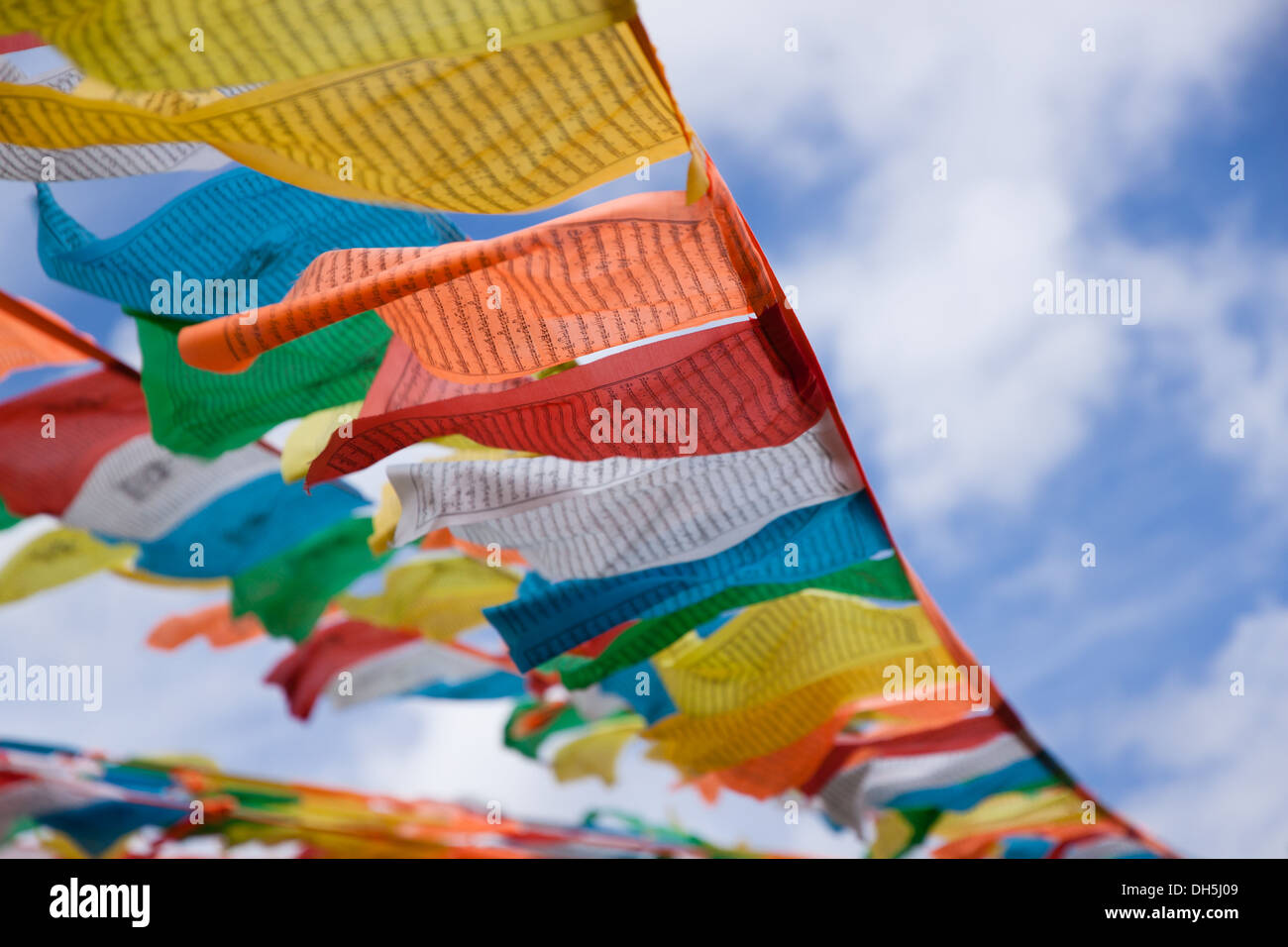 Prayer Flags in Litang, Sichuan China - Stock Image