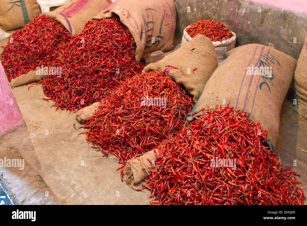 Dried chili peppers, bags, spice market, Old Dhaka, Dhaka, Bangladesh, South Asia - Stock Image