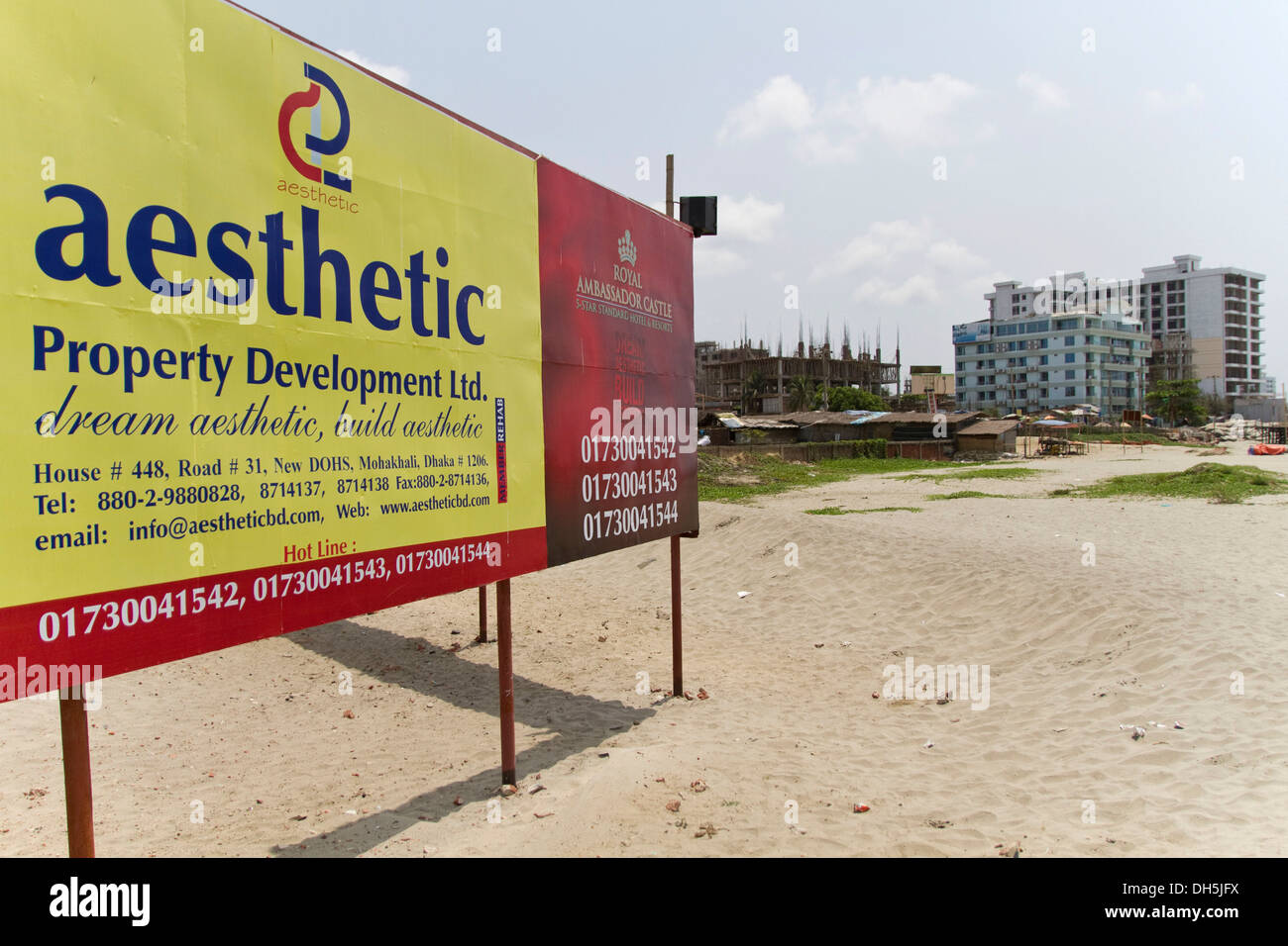 Poster of the company 'Aesthetic' advertising for new construction projects on the beach of Cox's Bazar, Bangladesh, South Asia - Stock Image