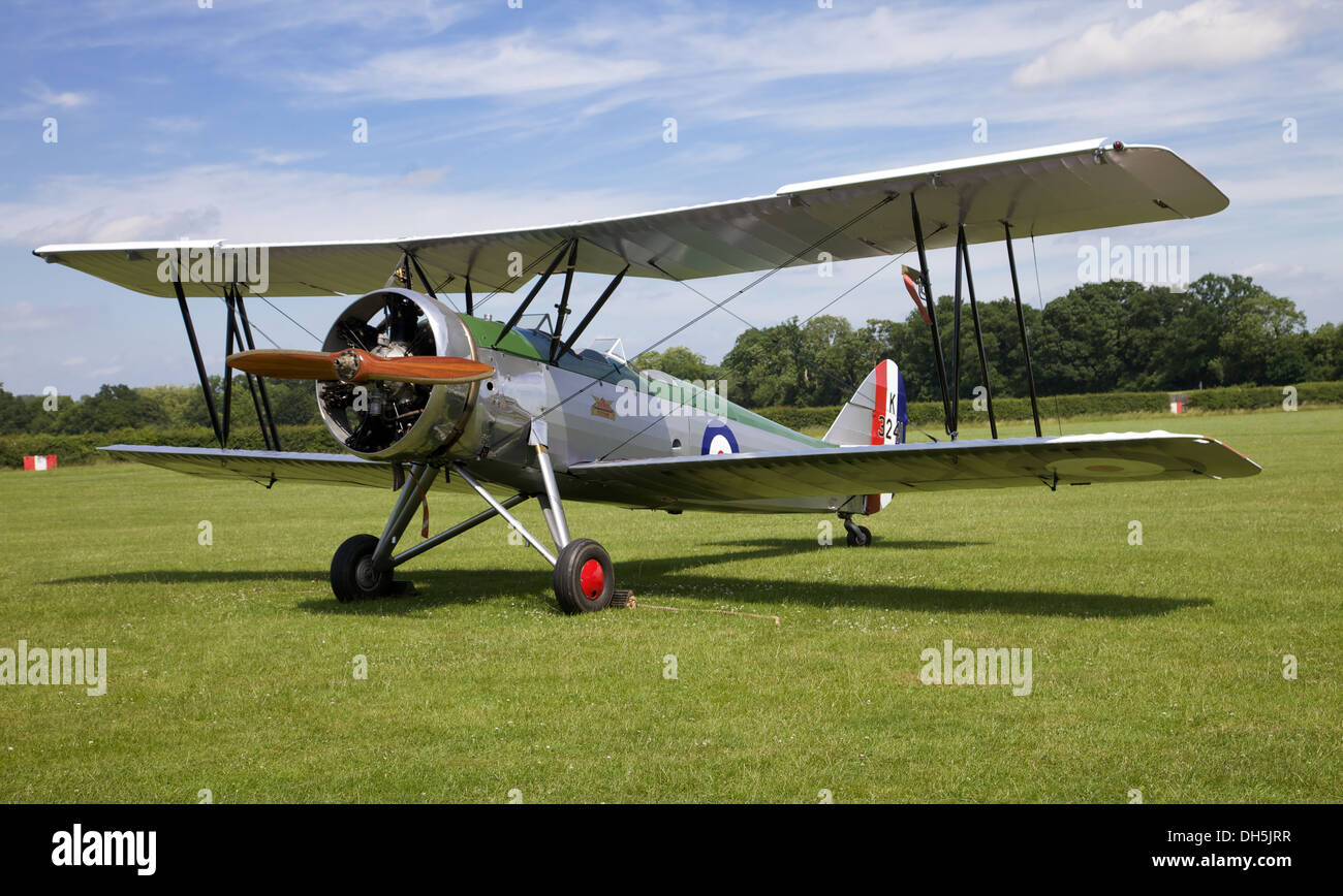 A 1937 Gloster Gladiator fighter at the Shuttleworth museum, England - Stock Image