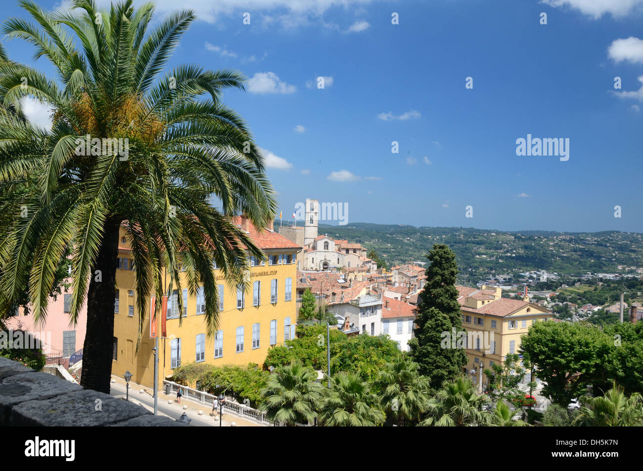 View over the International Perfume Museum and Grasse Old Town Alpes-Maritimes France - Stock Image