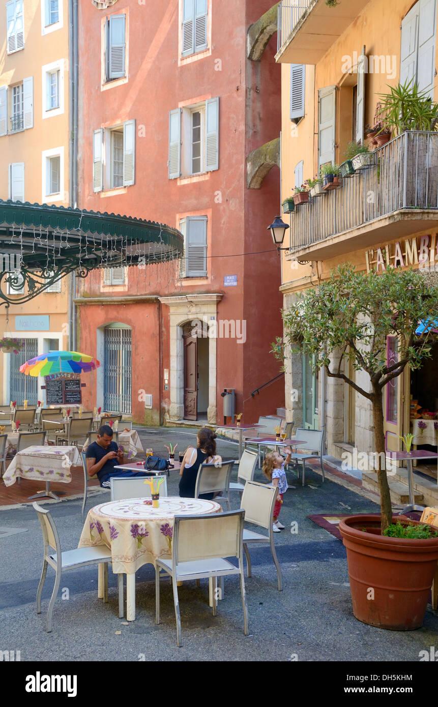 Pavement Café or restaurant on Town Square Place des Artistes Grasse Alpes-Maritimes France Stock Photo