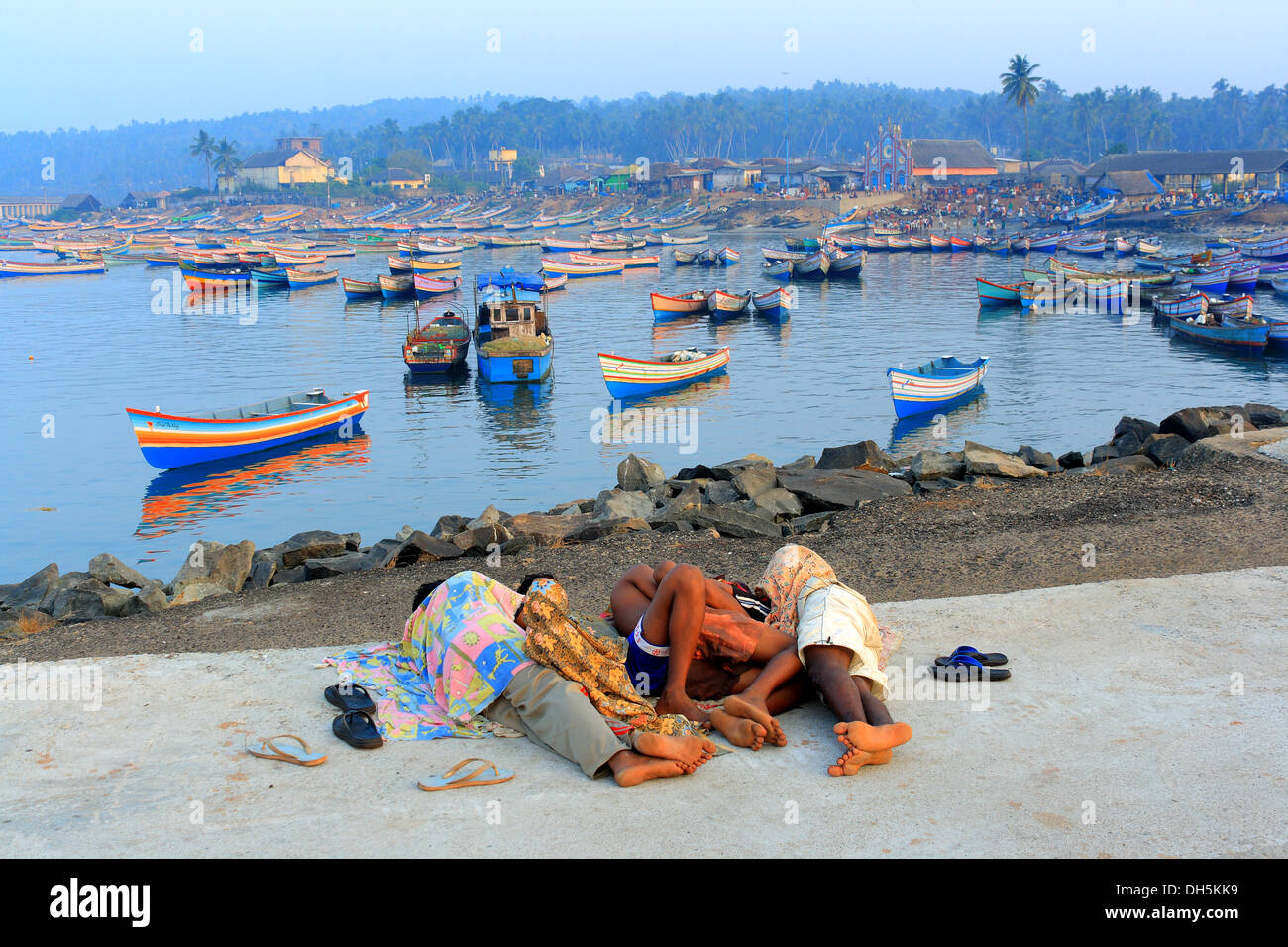 Vizhinjam fishing harbor - Stock Image