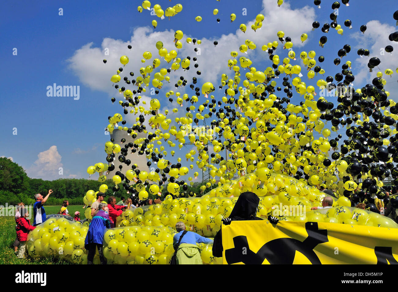 Anti nuclear power demonstration with balloons at the Gundremmingen nuclear power plant, the most powerful German Stock Photo