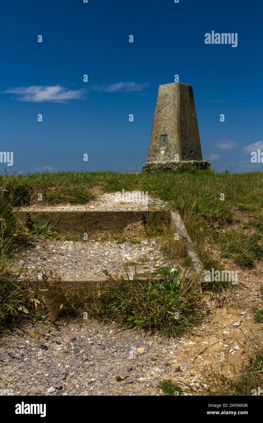 Triangulation Point on Abbotsbury Castle ancient earthwork, Abbotsbury, Dorset, England, United Kingdom. - Stock Image