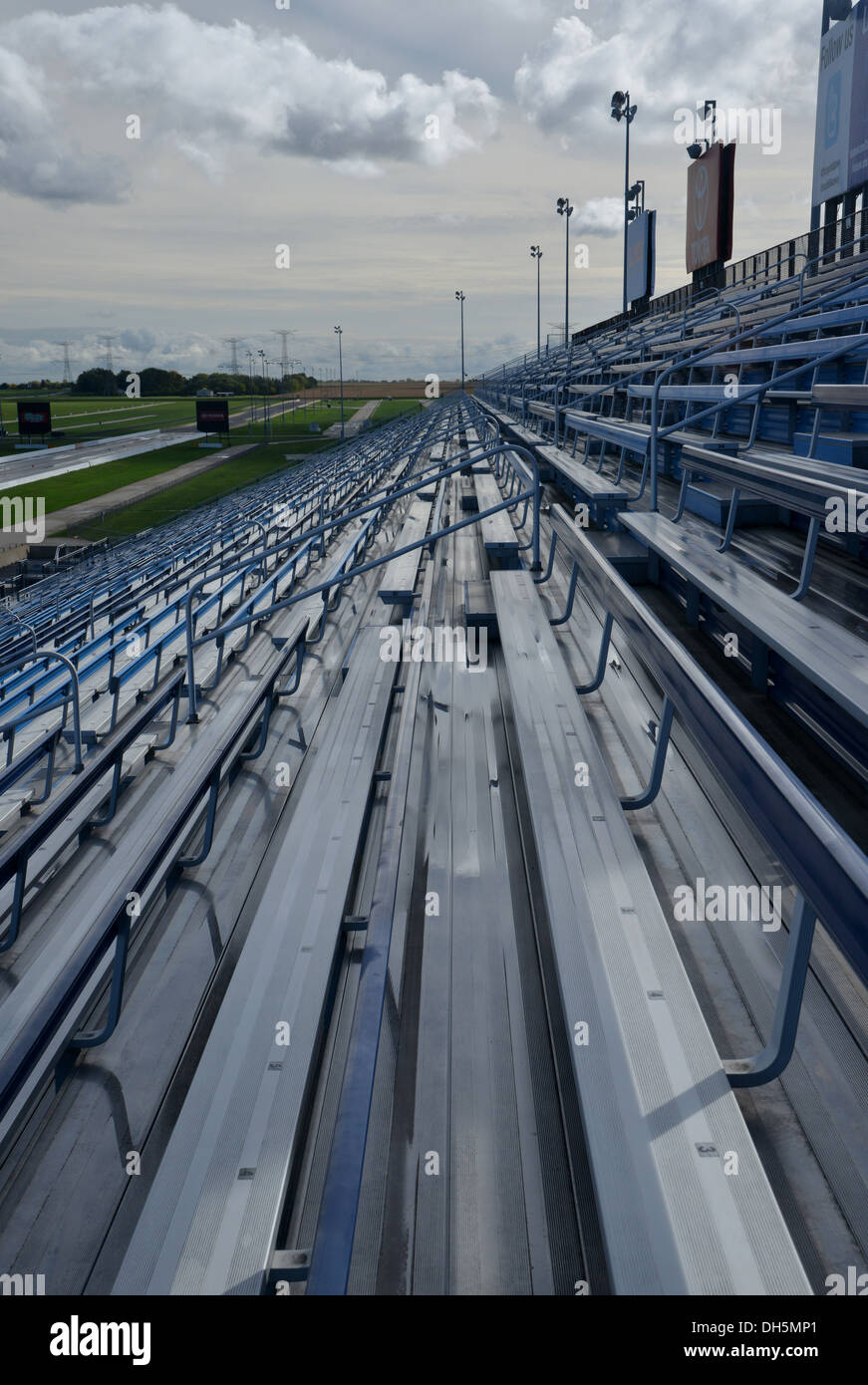 Grandstand seating at Route 66 Raceway car race track, Elwood, Illinois - Stock Image