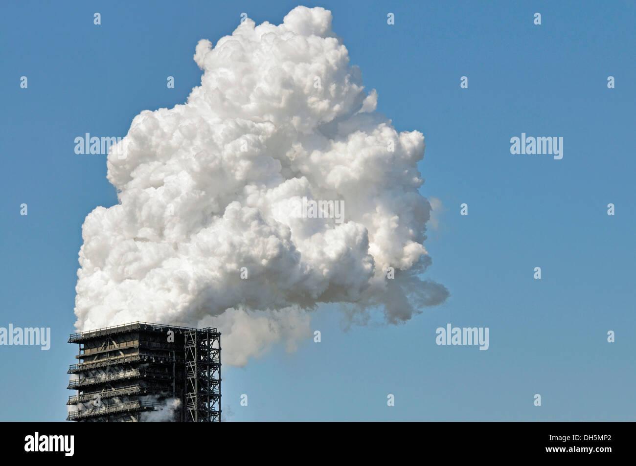 Northern wet quenching tower of Kokerei Schwelgern, coking plant, ThyssenKrupp Steel works in Hamborn, Duisburg - Stock Image