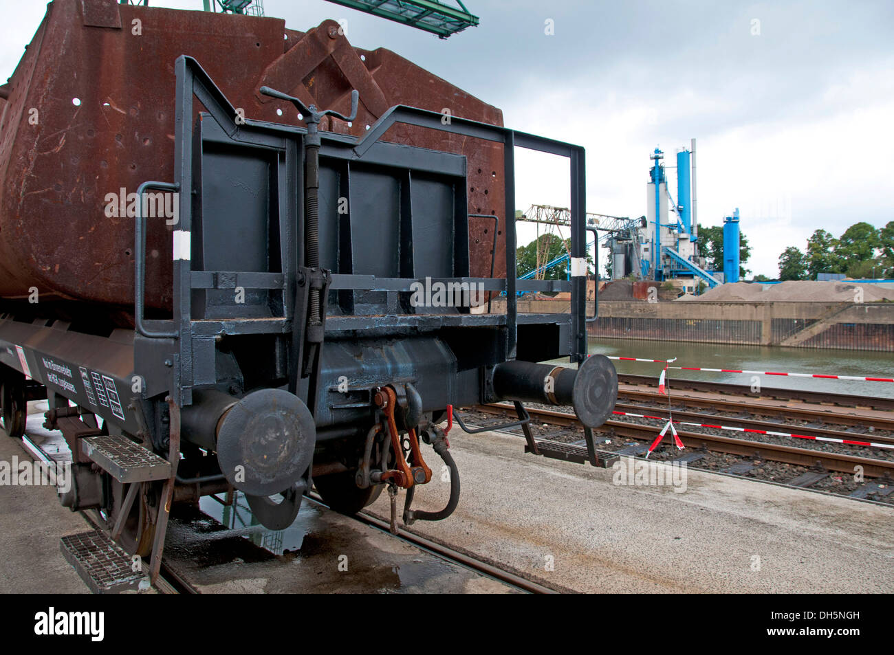 Open bucket car, Fzz type, two-axle waggons with three briquette buckets, for the transport of lignite briquettes - Stock Image