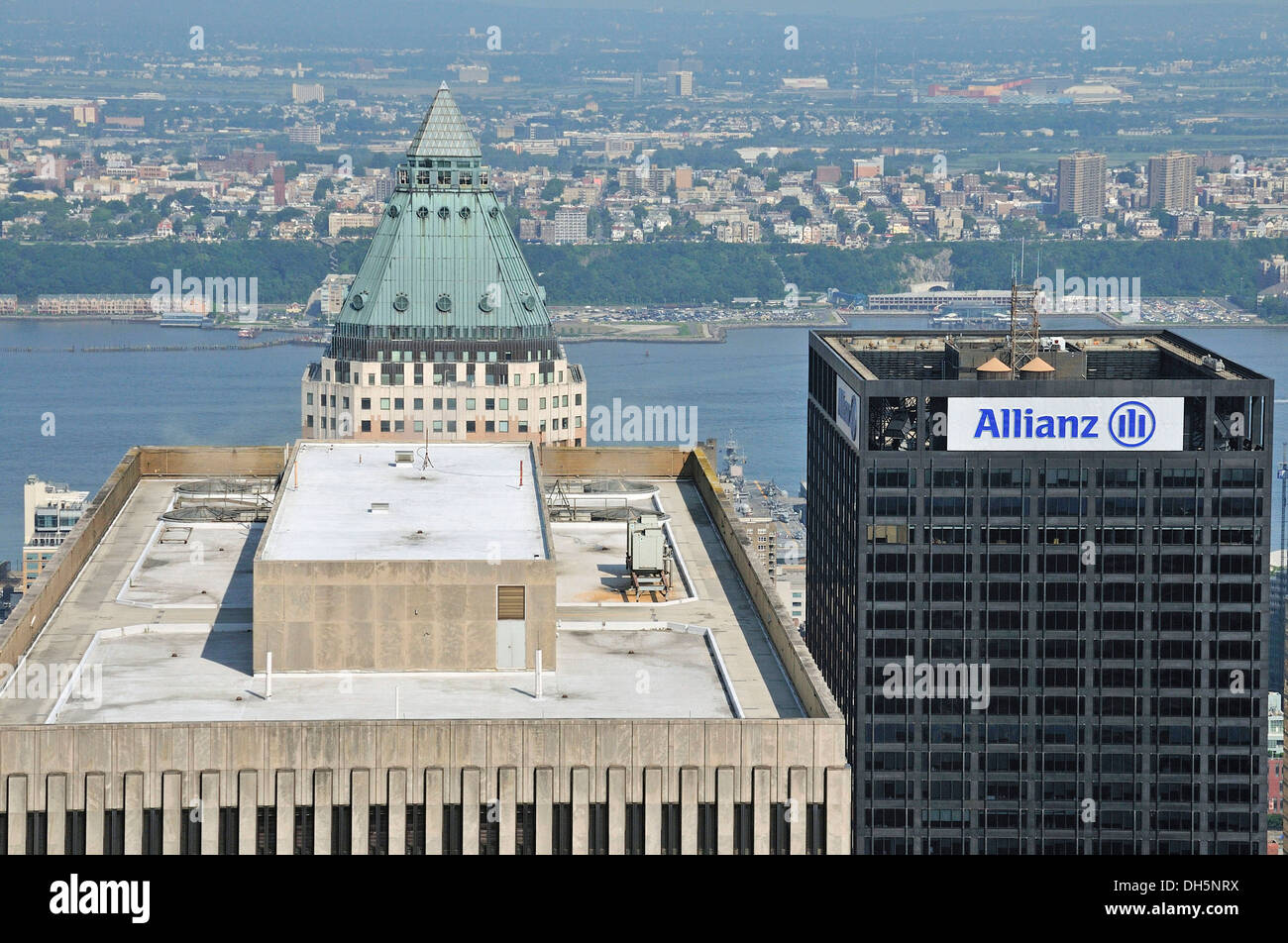 Panoramic view from the Top of the Rock observation deck at the Rockefeller Center of the Exxon Building, One Worldwide Plaza - Stock Image