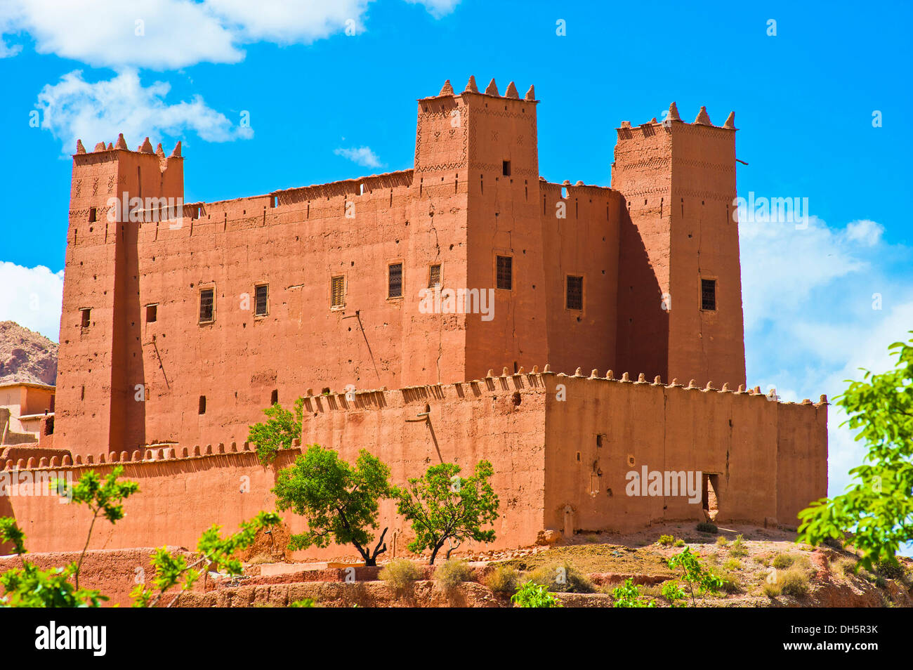 Restored kasbah, mud fortress, castle of the Berber people, Tighremt, Dades Valley, Southern Morocco, Morocco, Africa Stock Photo