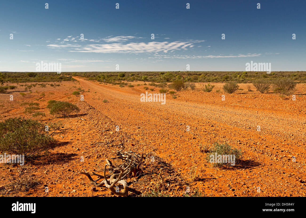 Landscape with long red dirt road / Hugh River stock route , cutting across barren outback treeless plains in central Stock Photo