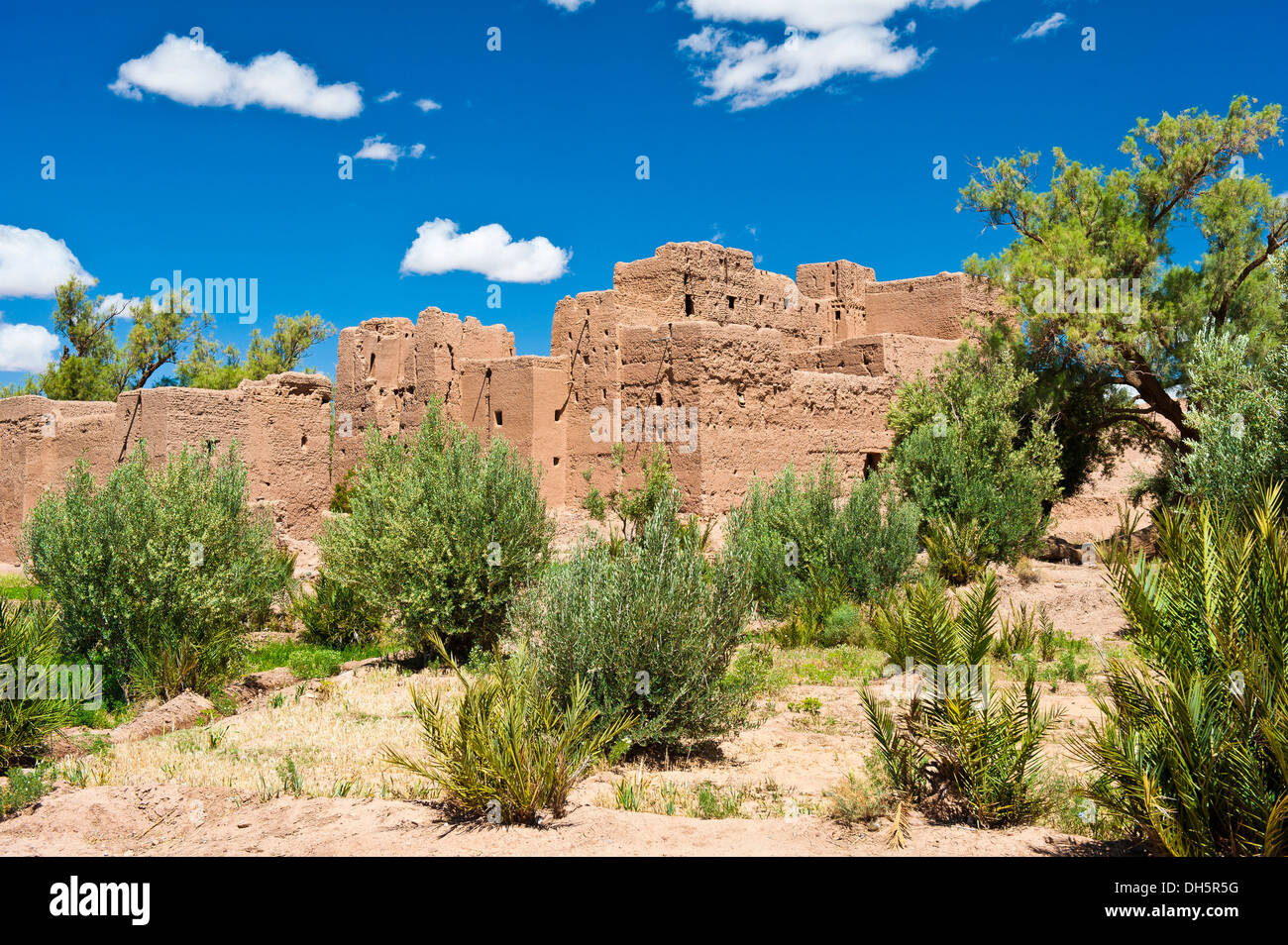 Decaying kasbah surrounded by trees and shrubs, mud fortress of the Berber people, Tighremt, lower Dades Valley - Stock Image