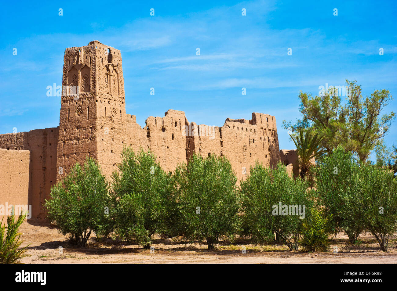 Decaying kasbah, mud brick fortress of the Berber people, Tighremt, surrounded by date palms (Phoenix), Skoura - Stock Image