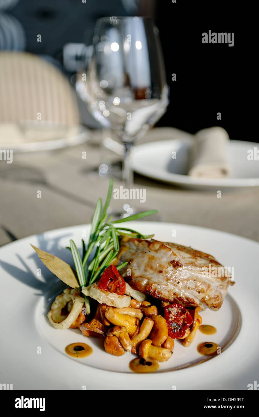 grill meat and mushrooms - Stock Image