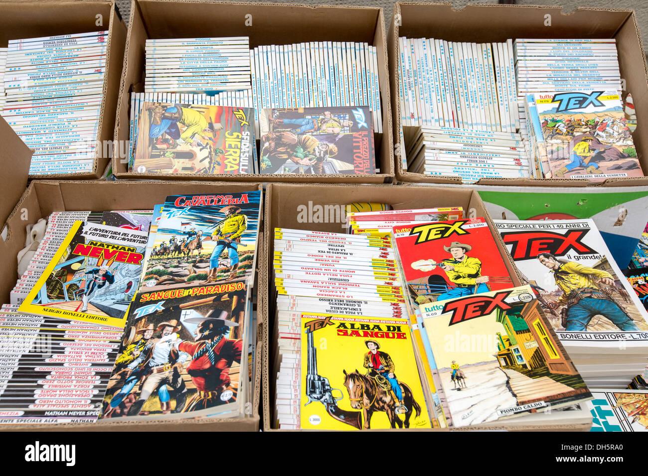 Comic Books On Sale At A Flea Market In Arezzo Tuscany