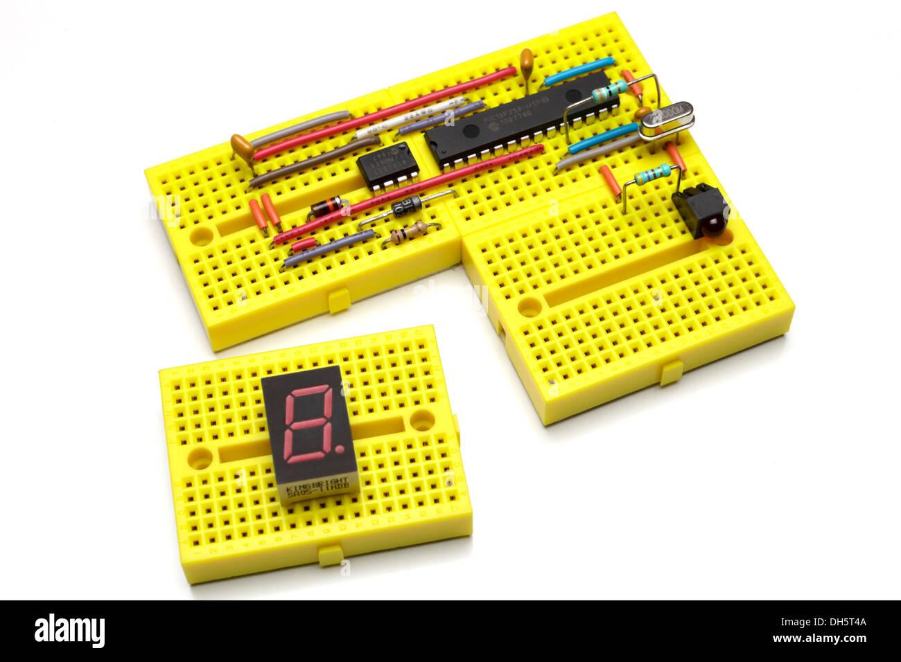 breadboard prototype circuit stock photos \u0026 breadboard prototypeprototype electronic circuit on modular mini breadboards stock image