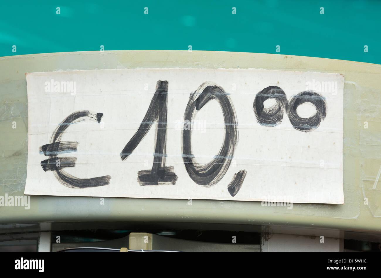 Hand written price tag for ten euros - Stock Image