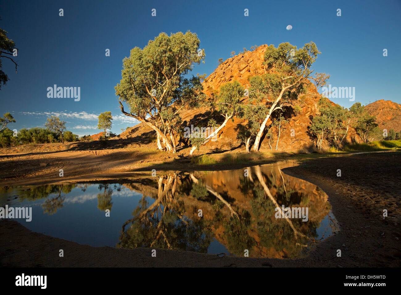 Australian outback landscape with ghost gums and rocks reflected in calm water of Ross River at dawn with full moon in blue sky - Stock Image