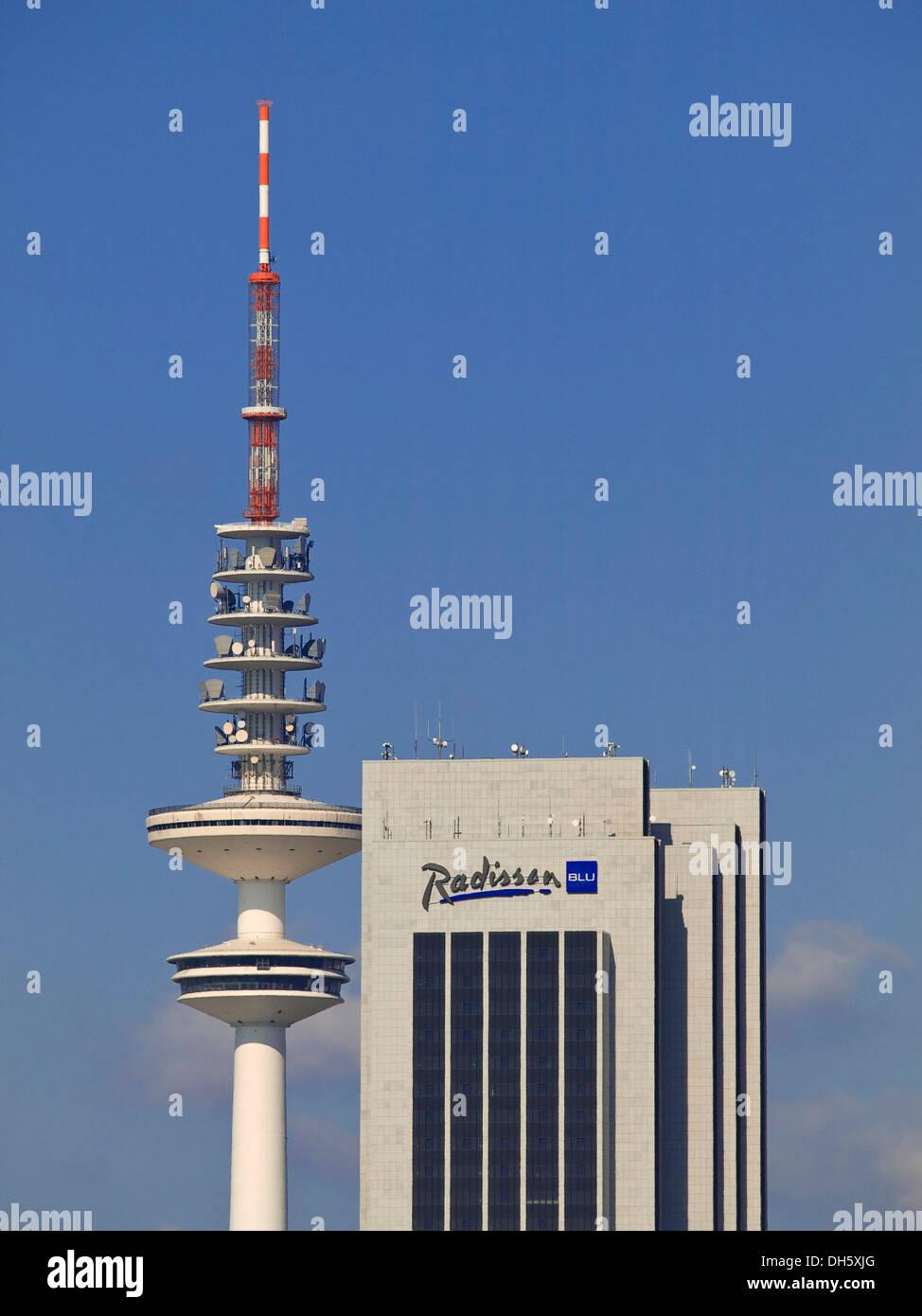 TV-Tower and Radisson Blu SAS Hotel, Hamburg - Stock Image