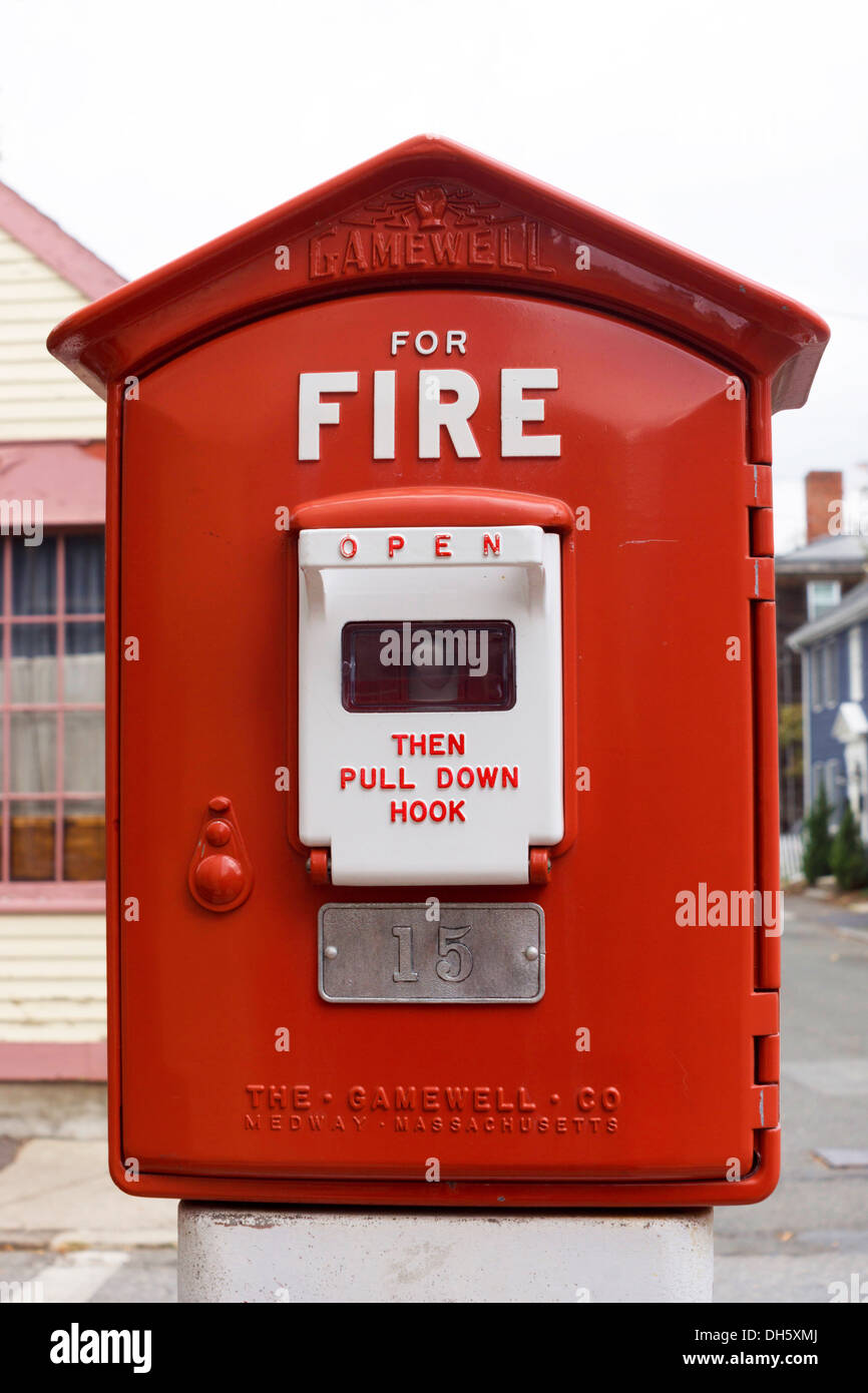 Fire Alarm Box Stock Photos Images Alamy Gamewell Wiring Diagram Red In Salem Massachusetts Usa Image