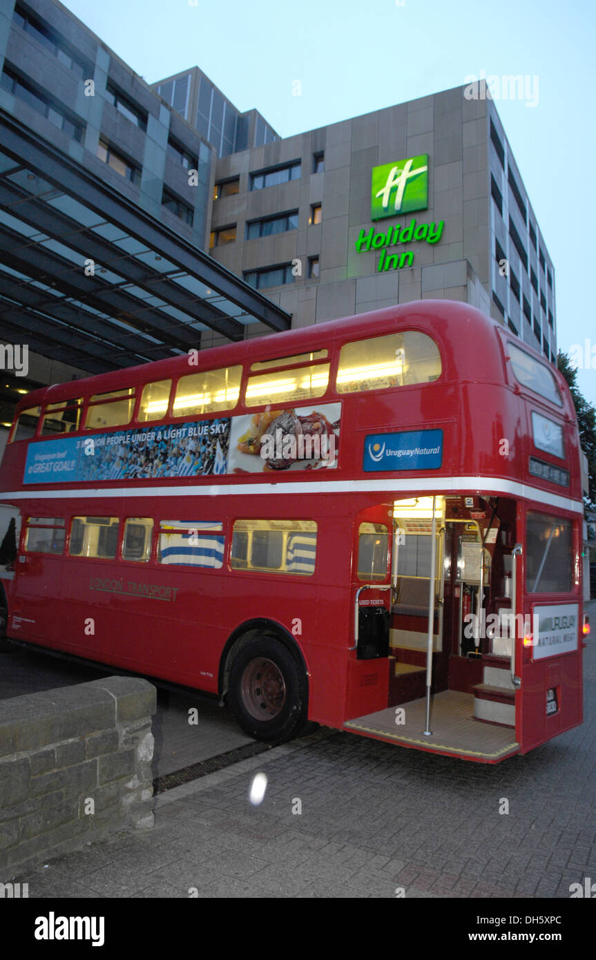 This is a Routemaster double-decker bus, used by London Transport  between1956 and Dec 8th 2005, advert Uruguay natural meat - Stock Image