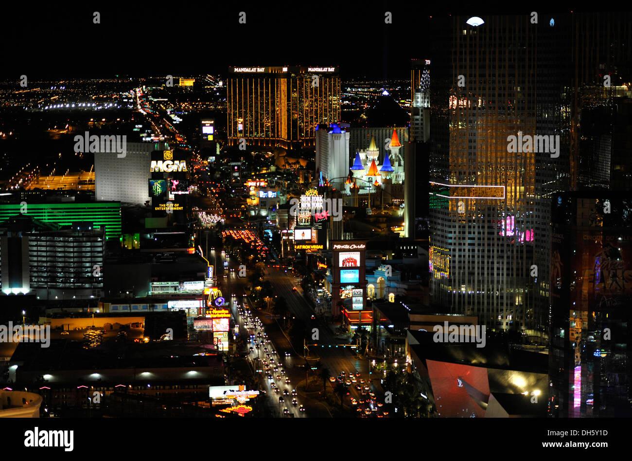 Night scene, The Strip, MGM Grand luxury hotel, New York, Mandalay Bay, Excalibur, Las Vegas, Nevada, United States of America - Stock Image
